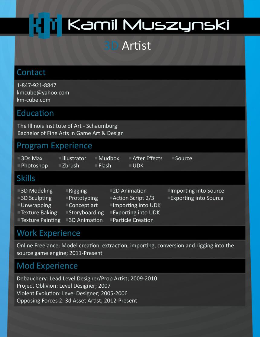 Kamil Muszynski   3D Artist  3d Artist Resume